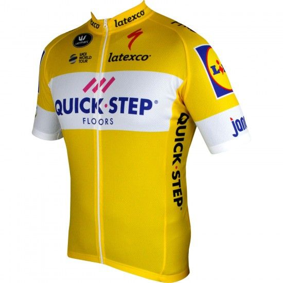 2018 Maillot Ciclista Manga Corta (Relámpago Largo, Amarillo) Quick-Step Floors Tour Special Edition